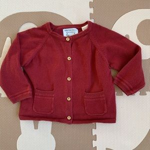 ZARA Baby Maroon Oxblood Button Cardigan Sweater